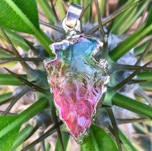 Rainbow Arrowhead Crystal Quartz Necklace
